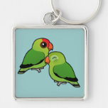 Abyssinian Lovebird Adorable Pair Silver-Colored Square Key Ring