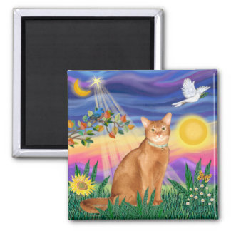 Abyssinian (red 18) - Twilight (horiz) Square Magnet