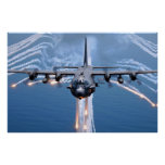 AC-130H Spectre jettisons flares Poster