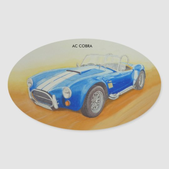 AC BLUE CLASSIC SPORTS CAR OVAL STICKER