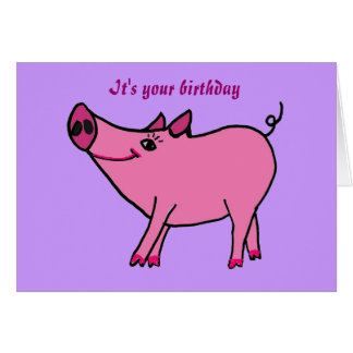 AC- Happy Birthday Pig Greeting Card