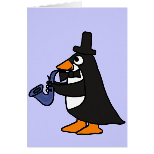 AC- Penguin in a Tuxedo Playing the Saxophone Card