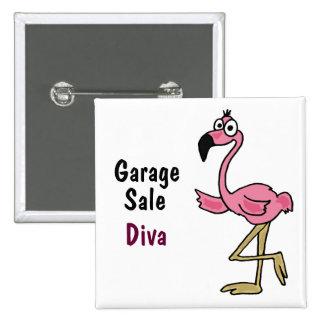 AC- Pink Flamingo Garage Sale Diva Button