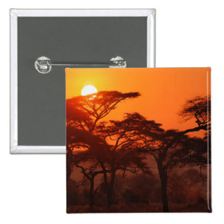 Acacia forest silhouetted at sunset, Tarangire 15 Cm Square Badge