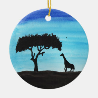 Acacia & Giraffe Round Ceramic Decoration