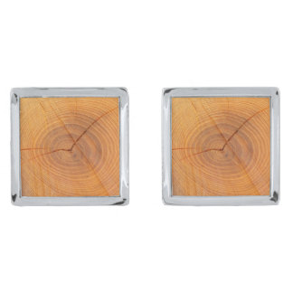 Acacia Tree Cross Section Cufflinks Silver Finish Cufflinks