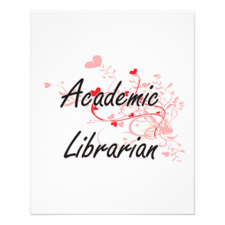 Academic Librarian Artistic Job Design with Hearts 11.5 Cm X 14 Cm Flyer