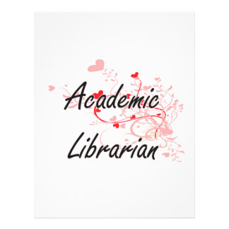 Academic Librarian Artistic Job Design with Hearts 21.5 Cm X 28 Cm Flyer