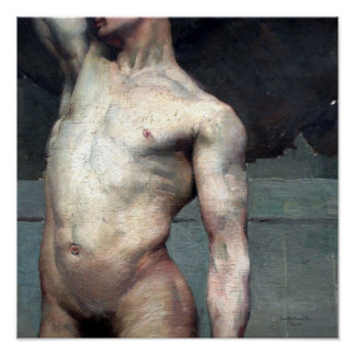 Academic naked man 19th poster