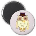 Academic Owl 6 Cm Round Magnet
