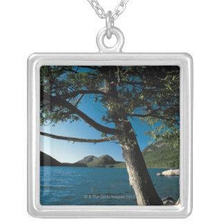 Acadia National Park , London Pond , Maine Square Pendant Necklace