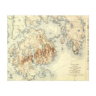 Acadia National ParkTopographic Panoramic Map Canvas Print