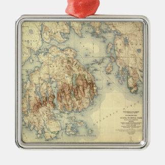 Acadia National ParkTopographic Panoramic Map Christmas Ornament