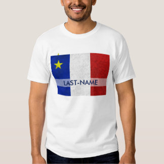 Acadian Flag Surname Distressed Grunge Personalize T Shirt