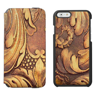 Acanthus Leaf Woodworking Wood Carving Burnished Incipio Watson™ iPhone 6 Wallet Case