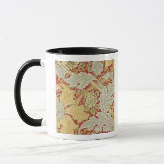 Acanthus leaves and wild rose on a crimson backgro mug