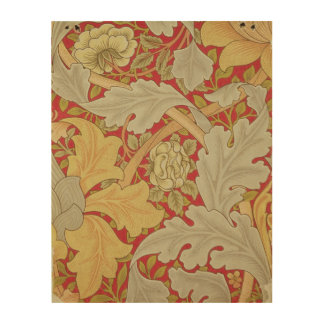 Acanthus leaves and wild rose on a crimson backgro wood print
