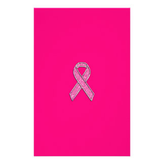 Accent Chrome Glitter Style Pink Ribbon Awareness Stationery