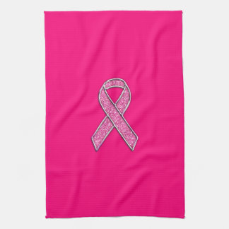 Accent Chrome Glitter Style Pink Ribbon Awareness Tea Towel