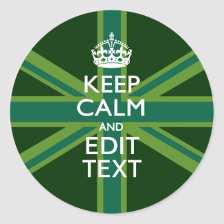 Accent Green Keep Calm And Your Text Union Jack Classic Round Sticker