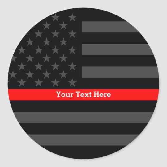 Accent Thin Red Line Personalised Black US Flag Classic Round Sticker