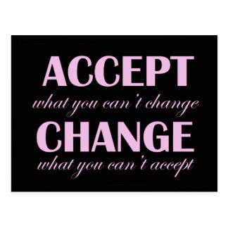 Accept vs Change - motivational postcard