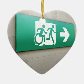 Accessible Means of Egress Icon Running Man Exit Ceramic Heart Decoration