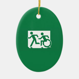 Accessible Means of Egress Icon Running Man Exit Ceramic Oval Decoration
