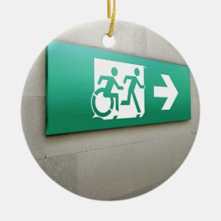 Accessible Means of Egress Icon Running Man Exit Round Ceramic Decoration