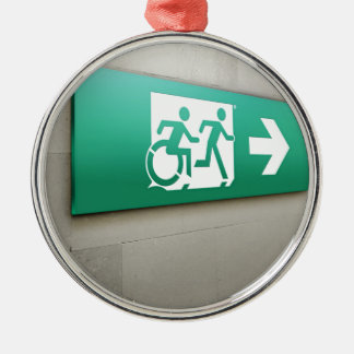 Accessible Means of Egress Icon Running Man Exit Silver-Colored Round Decoration
