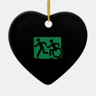 Accessible Means of Egress Icon Running Man Sign Ceramic Heart Decoration