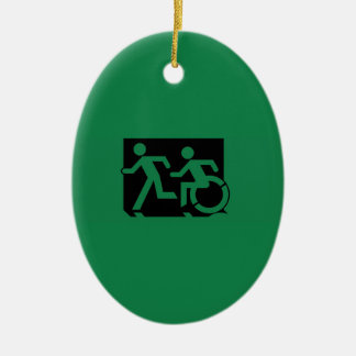 Accessible Means of Egress Icon Running Man Sign Ceramic Oval Decoration