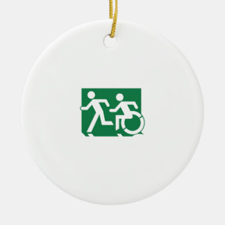 Accessible Means of Egress Icon Running Man Sign Round Ceramic Decoration