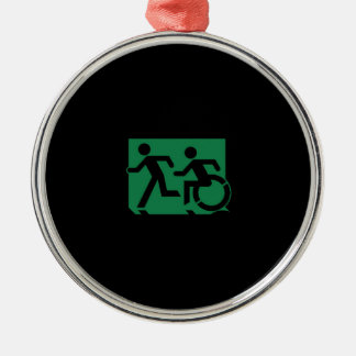Accessible Means of Egress Icon Running Man Sign Silver-Colored Round Decoration