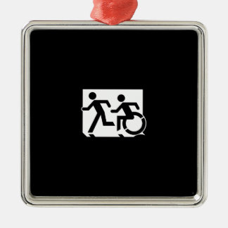 Accessible Means of Egress Icon Running Man Sign Silver-Colored Square Decoration