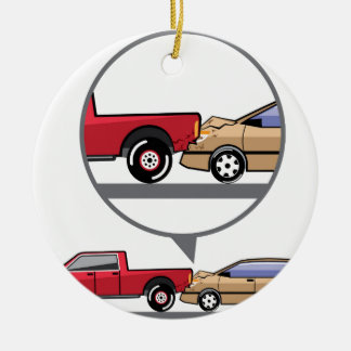 Accident Truck and Wagon Suv Wreck Round Ceramic Decoration