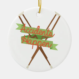 Accidents Happen Crutches Round Ceramic Decoration