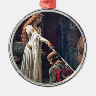 Accolade by Edmund Blair Leighton Silver-Colored Round Decoration