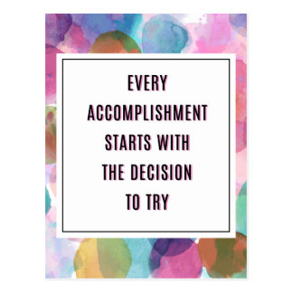 Accomplishment Inspirational Quote Postcard