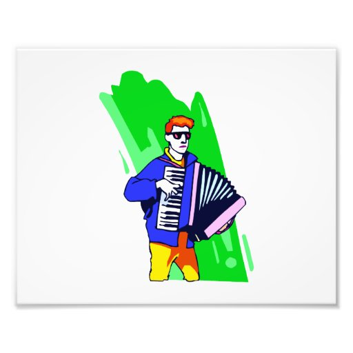 Accordian Player Blue Suit Graphic Photo Print