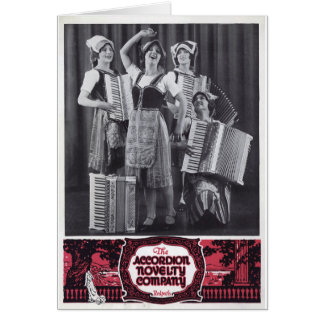 Accordion Girls Vintage Ad Greeting Card