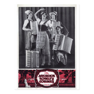 Accordion Girls Vintage Ad Postcard