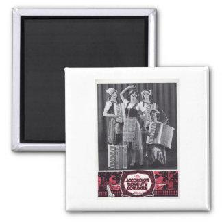 Accordion Girls Vintage Ad Square Magnet