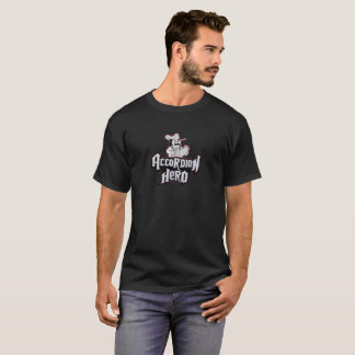 Accordion Hero black T-shirt. T-Shirt