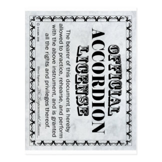Accordion License Postcard