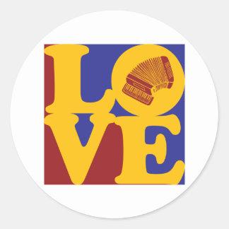 Accordion Love Classic Round Sticker