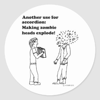 Accordion Makes Zombies Explode Sticker