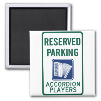 Accordion Player Parking Square Magnet