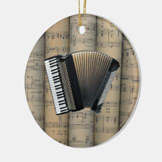 Accordion ~ Rolled Sheet Music Background ~ Music Round Ceramic Decoration