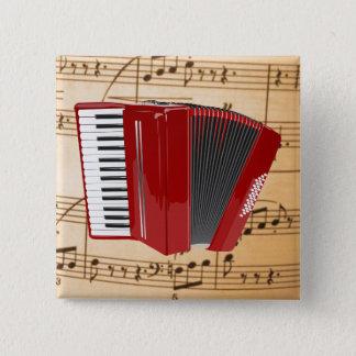 Accordion: The Red Accordion 15 Cm Square Badge